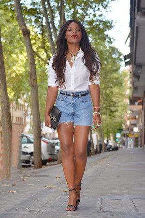 white Zara shirt - light blue Levis shorts - black BLANCO sandals