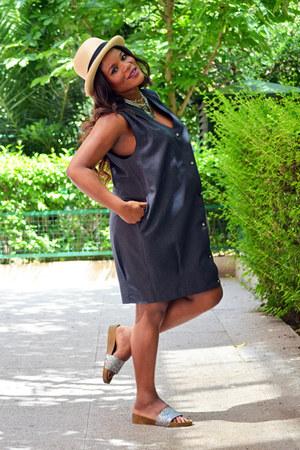 charcoal gray vintage dress - dress