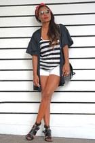 black Bershka top - white Zara shorts - black Bershka sandals