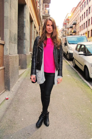 hot pink pink Zara top - black Filippa K shoes