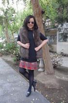 ferragamo shoes - navy long Zara sweater - navy Express tights
