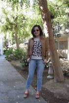 cropped Zara jeans - camel leather asos jacket - Blumarine sunglasses
