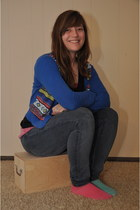 blue Forever 21 cardigan - navy Levis jeans - bubble gum Old Navy top