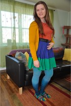 blue modcloth skirt - sky blue Urban Outfitters stockings - mustard H&M cardigan