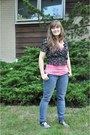 Denim-levis-jeans-black-h-m-blouse-bubble-gum-old-navy-top