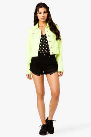 apple green Forever21 jacket - black Forever21 shorts - Forever21 top