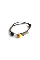 LIMITED EDITION- Name Bracelet silver pendant and Baltic Amber on leather cord