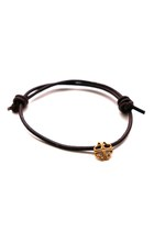 LUCKY bracelet, gold plated silver, leather cord