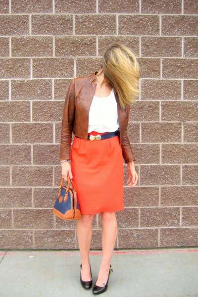 vintage jacket - XOXO blouse - vintage belt - vintage skirt - Dooney and Bourke