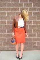 vintage jacket - XOXO blouse - vintage belt - vintage skirt - Dooney and Bourke