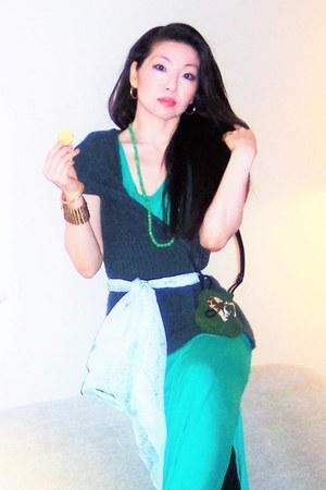 green Cins Place purse - teal venus dress - aquamarine Shanghai Splendor scarf