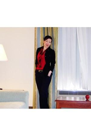 black corduroy Rampage blazer - ruby red sheer rose vintage scarf