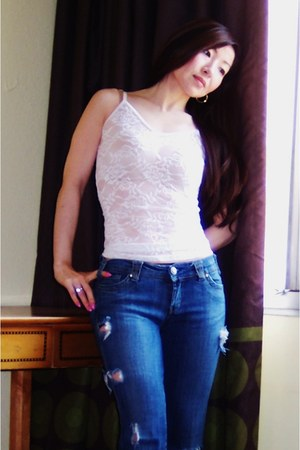 blue one of a kind Favorite Jeans jeans - white simple basics Wet Seal top