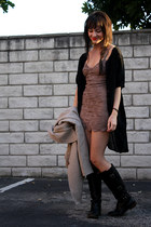 black leather riding Frye boots - tan coincidence & chance dress