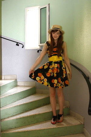 Primark dress - boater hat H&M hat - straw clutch H&M bag - Topshop sandals