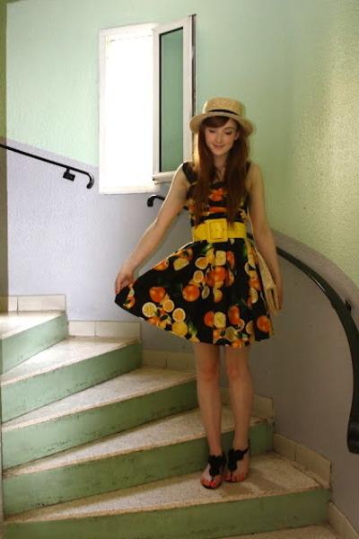 Primark dress - boater hat H&M hat - straw clutch H&M bag - Topshop sandals