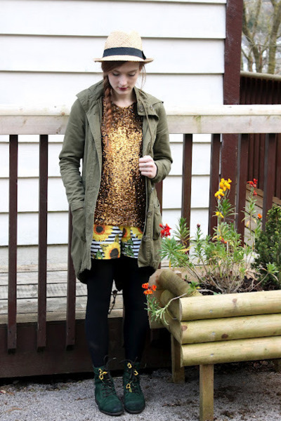 army green Miss Selfridge coat - dark green River Island boots