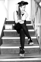 white Unique heels - black Coast dress