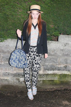 Marni top - H&M hat - River Island blazer - navy TK Maxx bag - Topshop heels