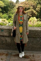 yellow tropical Primark dress - dark khaki trench coat Best Of British coat