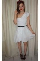 white kate moss dress - red cherry headband Topshop accessories - black heels