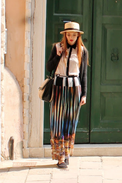 River Island skirt - boater hat H&M hat - new look shirt - H&M bag