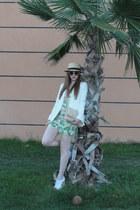 Love romper - boater hat H&M hat - white blazer River Island blazer