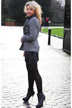 leather Zara skirt - silver heel Aldo boots - leather inserts Primark jacket