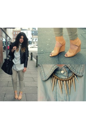 Zara wedges - NN jacket - Penneys shirt - Topshop pants