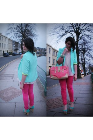 platforms Penneys heels - Penneys blazer - mark&spencer bag - vintage blouse