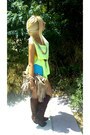 Brown-boots-beige-gap-bag-turquoise-blue-bershka-shorts-lime-green-top