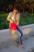 beige strativarious blazer - hot pink Zara bag - yellow Bershka t-shirt - nude S