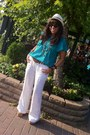 Teal-cotton-thrifted-vintage-blouse-white-linen-bcbg-pants-bronze-wood-and-s