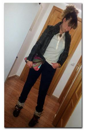 black Zara jeans - DIY boots - dark brown Promod jacket - desigual bag