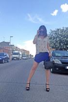 blue papiroflexia Zara skirt - black vintage bag Stradivarius bag