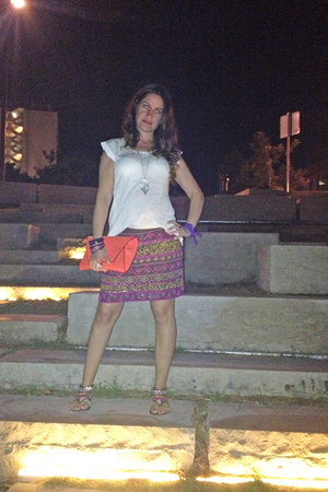 el corte ingles skirt - salmon Zara bag - asos sandals - el corte ingles t-shirt