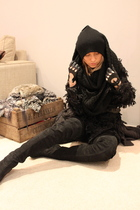 black Topshop boots - black asos hat - black H&M scarf - black Topshop cardigan
