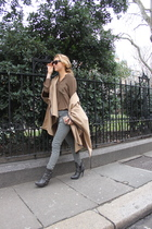 brown zara cape coat - green Zara shirt - green Topshop pants - gray Zara boots
