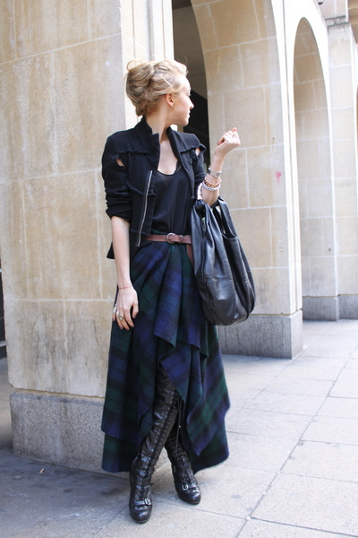 black for h&m Comme des Garcons blazer - black Topshop boots - black Zara bag