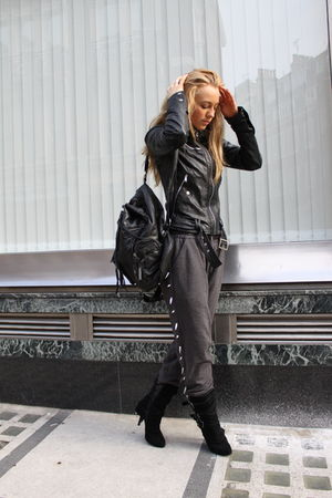 black Zara jacket - black Aldo boots - gray topshop ashish pants
