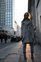 brown Chloe boots - beige All Saints coat - gray H&M pants