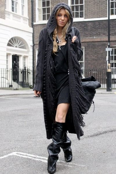 black GINA TRICOT dress - black balenciaga boots - black Zara bag