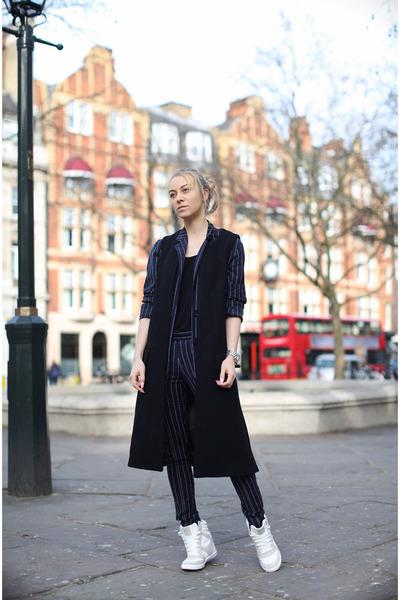 black Zara jacket - navy pinstripe acne suit - white River Island sneakers
