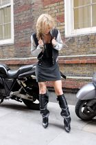 black GINA TRICOT cardigan - black GINA TRICOT dress - black balenciaga boots -
