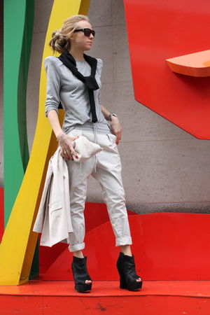 gray Zara blouse - black topshop ashish shoes - beige Zara blazer