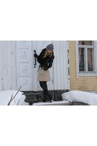 black Zara jacket - gray River Island boots - black H&M scarf
