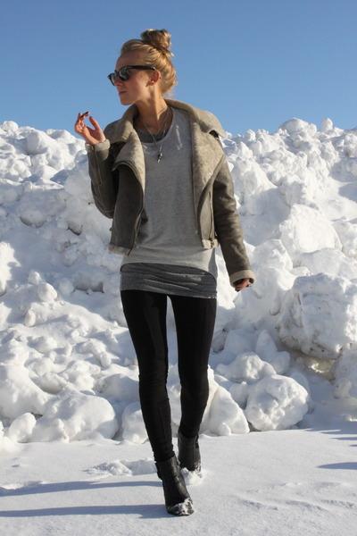 gray Zara coat - black Din Sko boots - gray GINA TRICOT sweater - black leggings