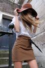 Brown-american-apparel-hat-white-h-m-shirt-beige-chloe-boots