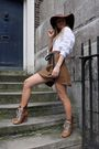 Brown-american-apparel-hat-white-h-m-shirt-beige-chloe-boots