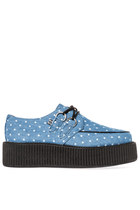 T.U.K. Mondo Sole Creeper in Blue and White Polka Dot